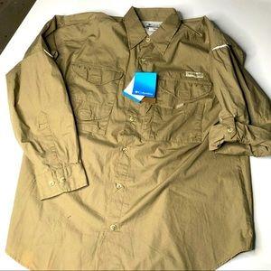 Columbia PFG Mens Medium L/S Khaki Fishing Shirt